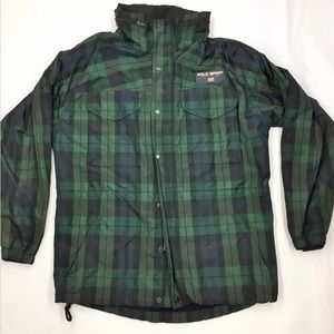 Vintage 90s Polo Sport Blue Green Plaid Jacket